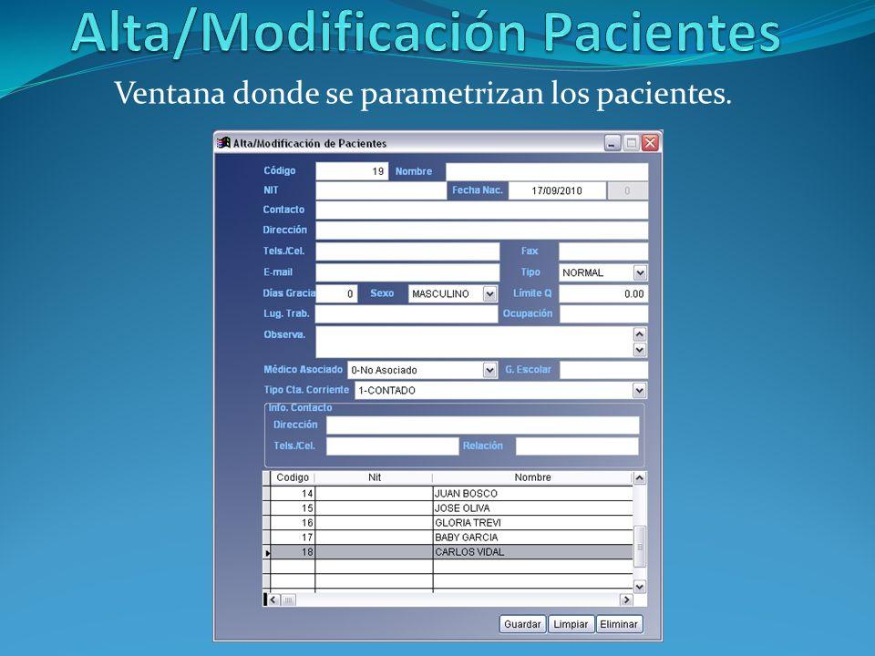 Alta/Modificación Pacientes