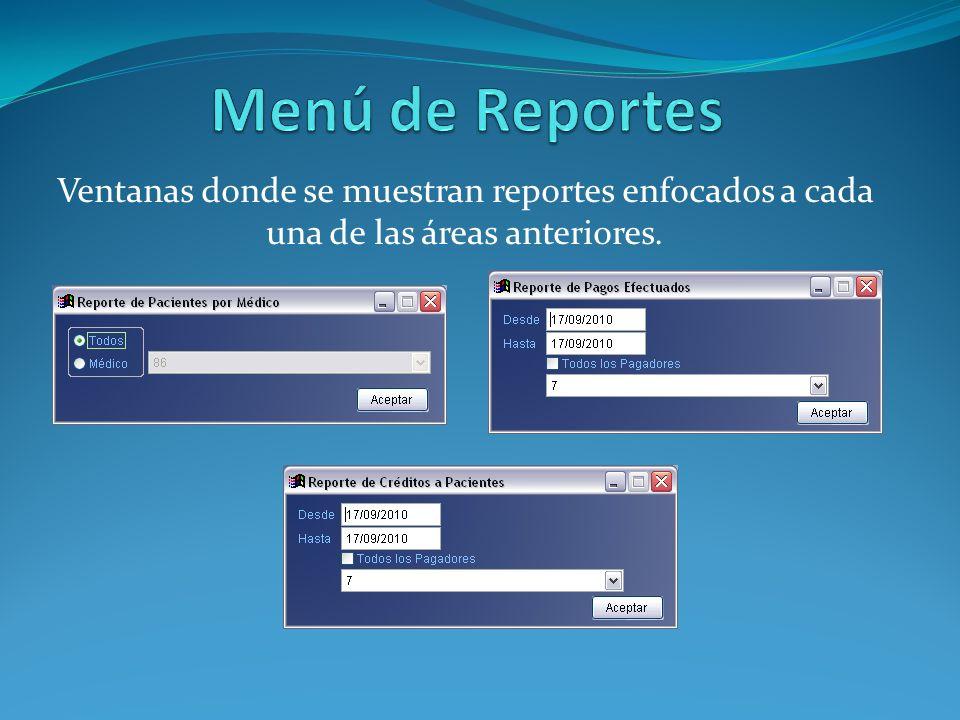 Menú de Reportes Ventanas donde se muestran reportes enfocados a cada una de las áreas anteriores.