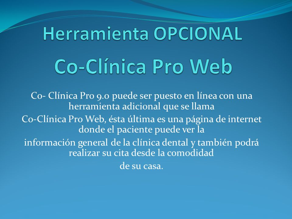 Co-Clínica Pro Web Herramienta OPCIONAL