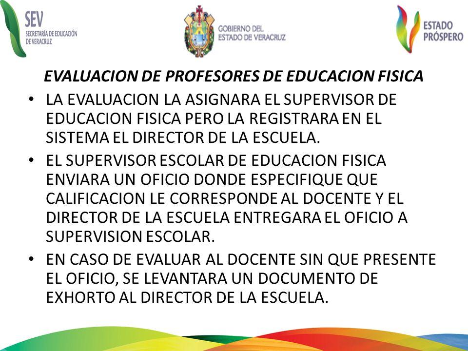 EVALUACION DE PROFESORES DE EDUCACION FISICA