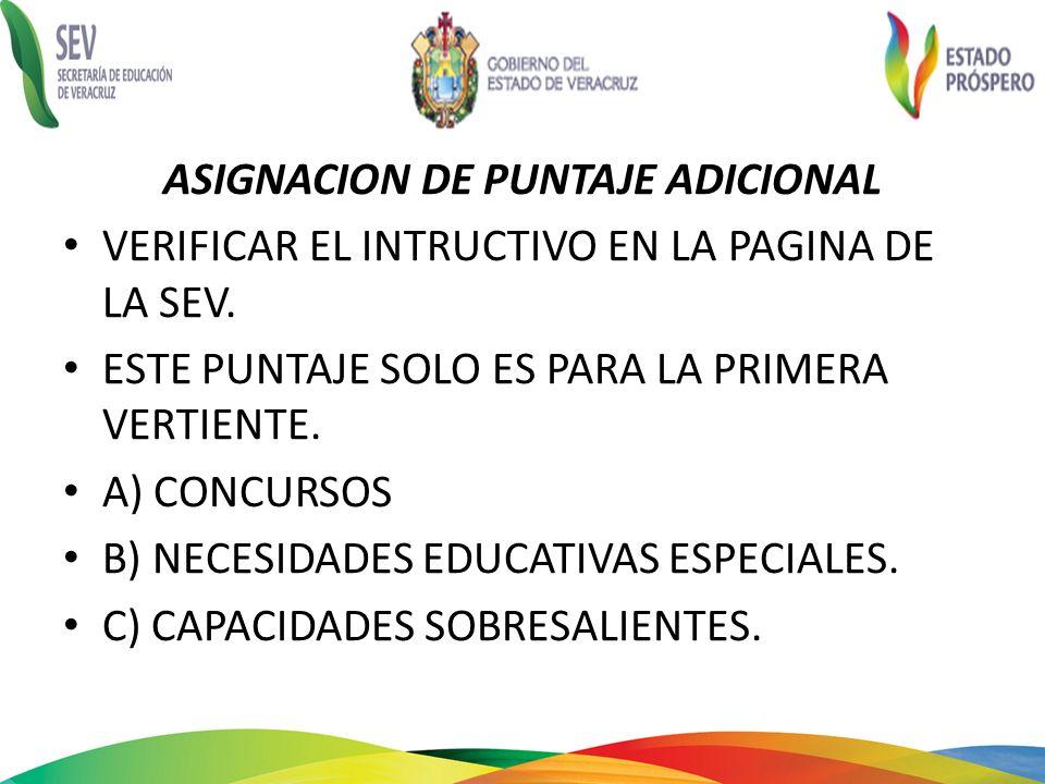 ASIGNACION DE PUNTAJE ADICIONAL