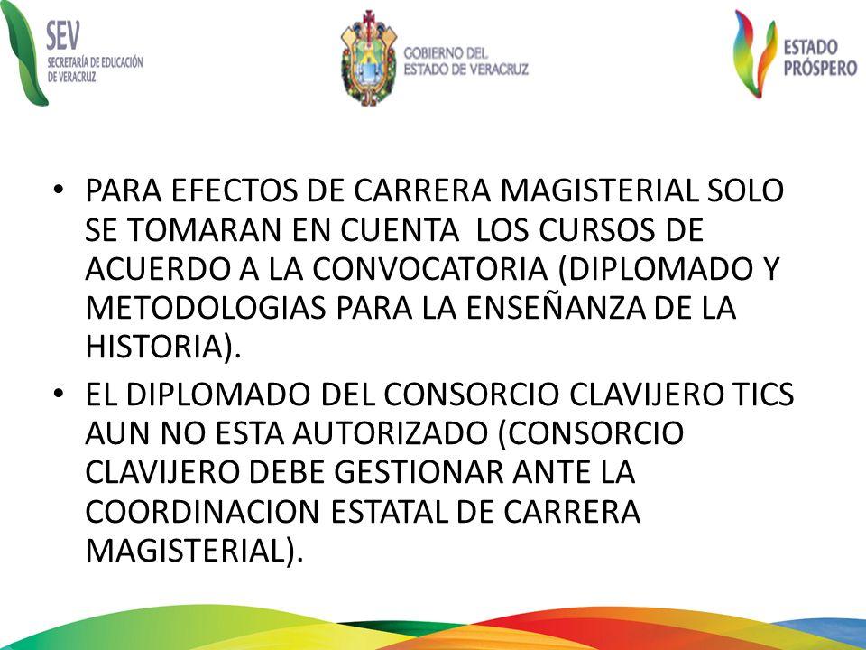 PARA EFECTOS DE CARRERA MAGISTERIAL SOLO SE TOMARAN EN CUENTA LOS CURSOS DE ACUERDO A LA CONVOCATORIA (DIPLOMADO Y METODOLOGIAS PARA LA ENSEÑANZA DE LA HISTORIA).