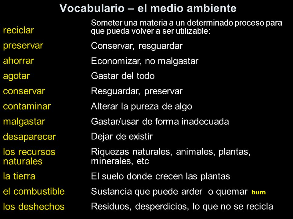 Vocabulario – el medio ambiente