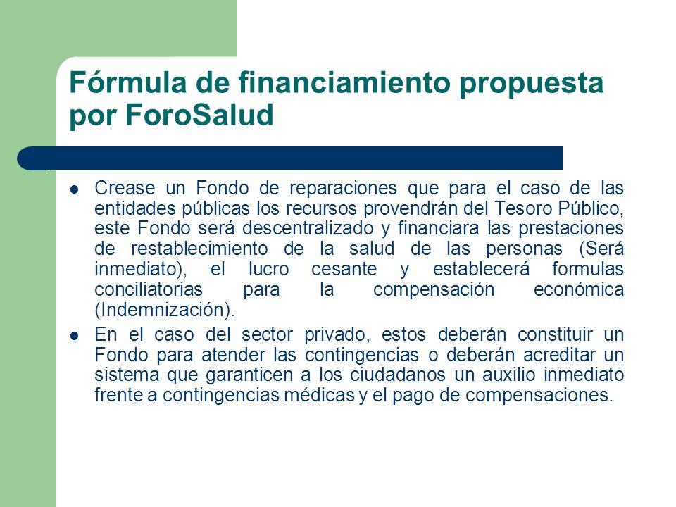 Fórmula de financiamiento propuesta por ForoSalud