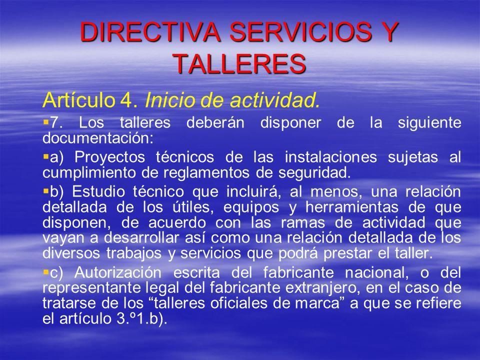 DIRECTIVA SERVICIOS Y TALLERES