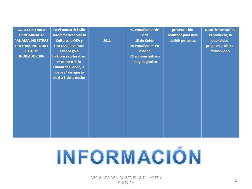 INFORMACIÓN DECANATO DE VIDA ESTUDIANTIL- ARTE Y CULTURA