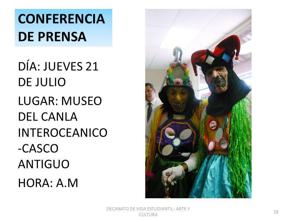 DECANATO DE VIDA ESTUDIANTIL- ARTE Y CULTURA