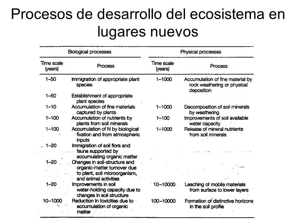 Procesos de desarrollo del ecosistema en lugares nuevos