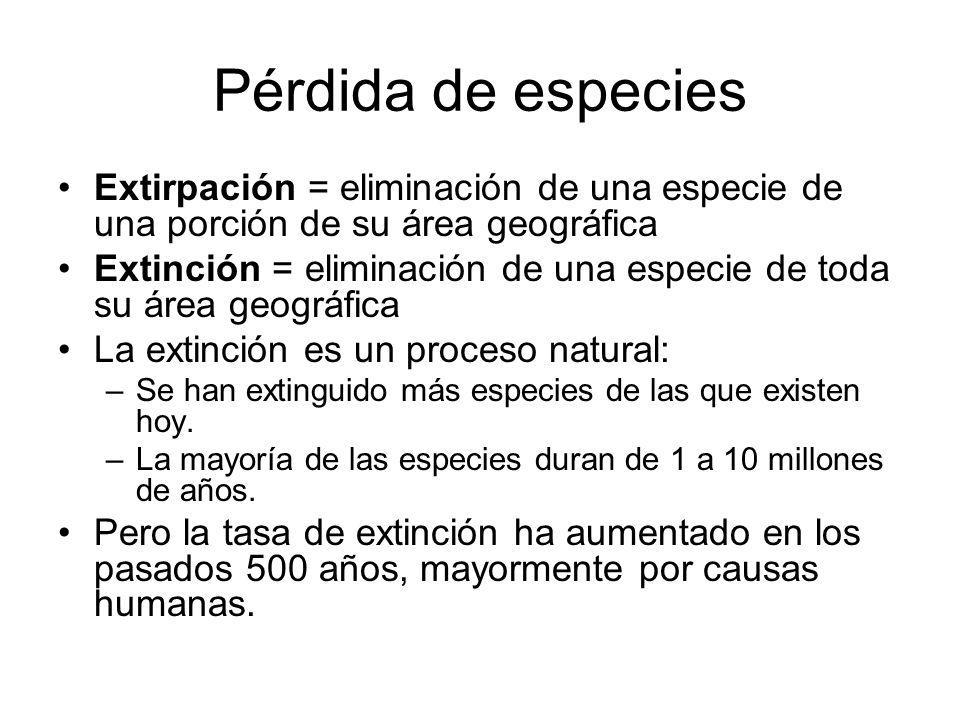 Pérdida de especies Extirpación = eliminación de una especie de una porción de su área geográfica.