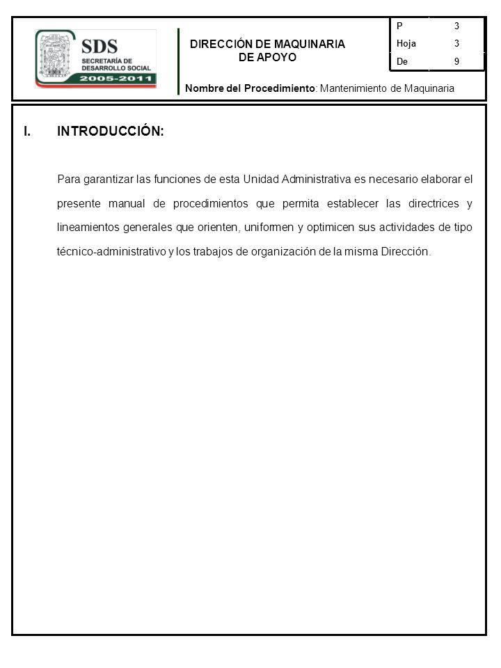 DIRECCIÓN DE MAQUINARIA DE APOYO