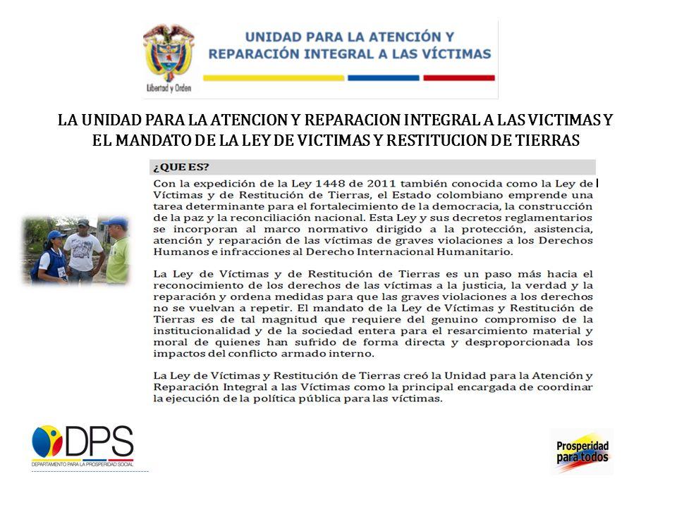 LA UNIDAD PARA LA ATENCION Y REPARACION INTEGRAL A LAS VICTIMAS Y EL MANDATO DE LA LEY DE VICTIMAS Y RESTITUCION DE TIERRAS