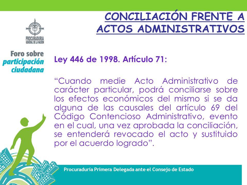 CONCILIACIÓN FRENTE A ACTOS ADMINISTRATIVOS