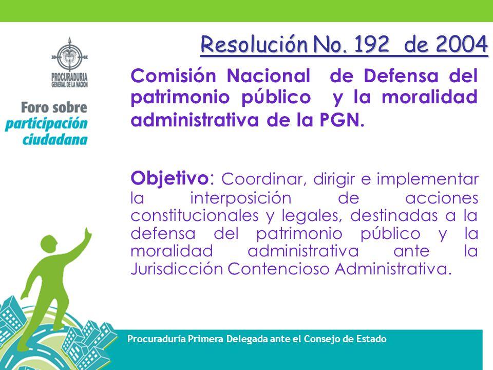 Resolución No. 192 de 2004 Comisión Nacional de Defensa del patrimonio público y la moralidad administrativa de la PGN.