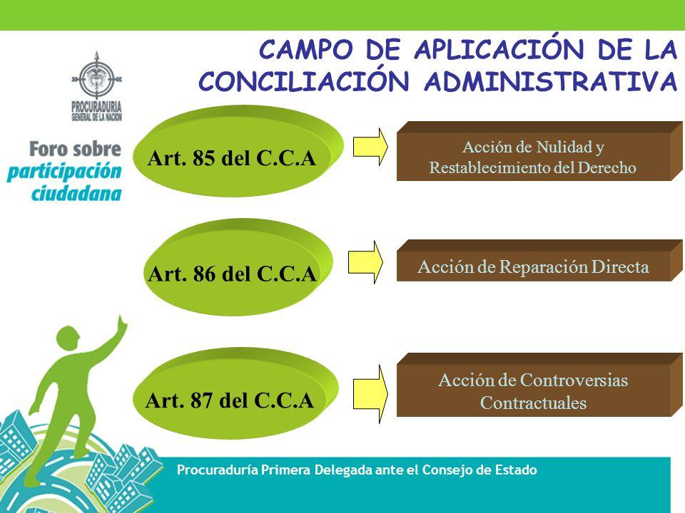 CAMPO DE APLICACIÓN DE LA CONCILIACIÓN ADMINISTRATIVA