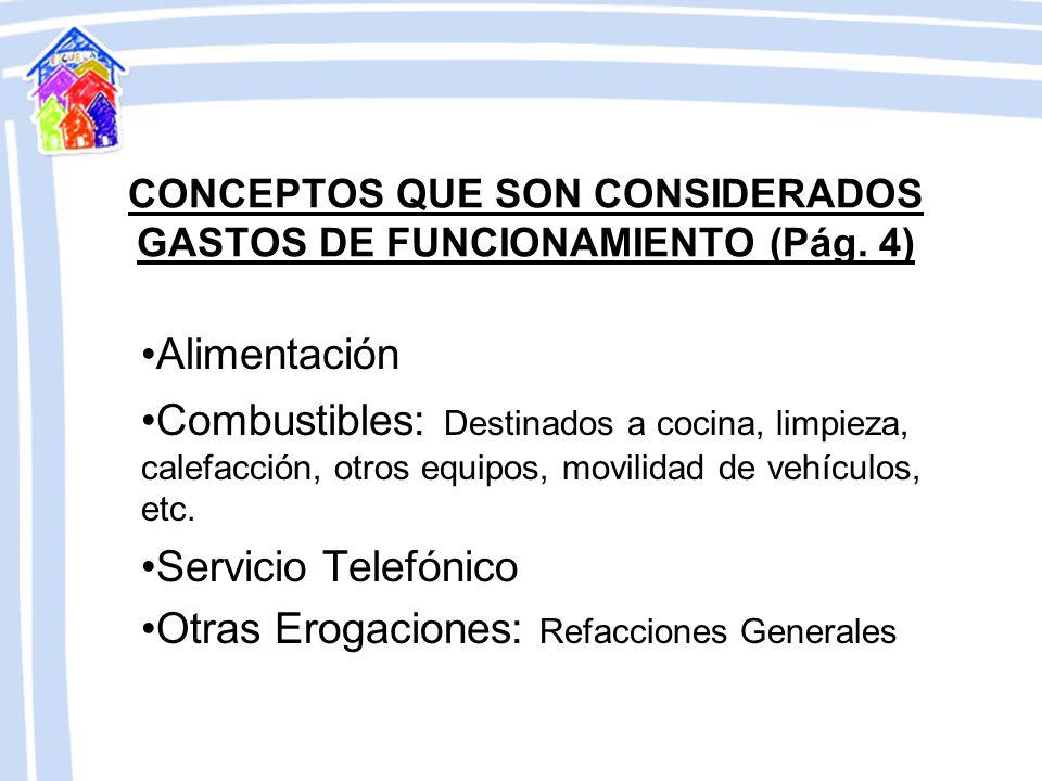 CONCEPTOS QUE SON CONSIDERADOS GASTOS DE FUNCIONAMIENTO (Pág. 4)