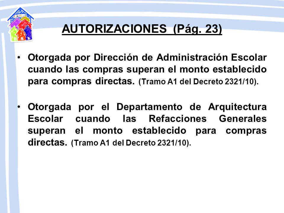 AUTORIZACIONES (Pág. 23)