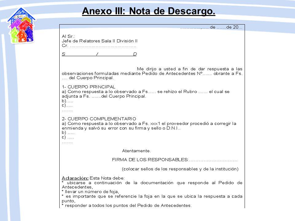 Anexo III: Nota de Descargo.