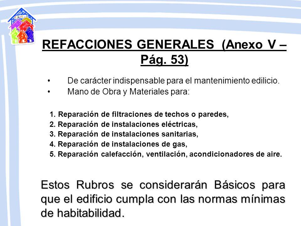 REFACCIONES GENERALES (Anexo V – Pág. 53)
