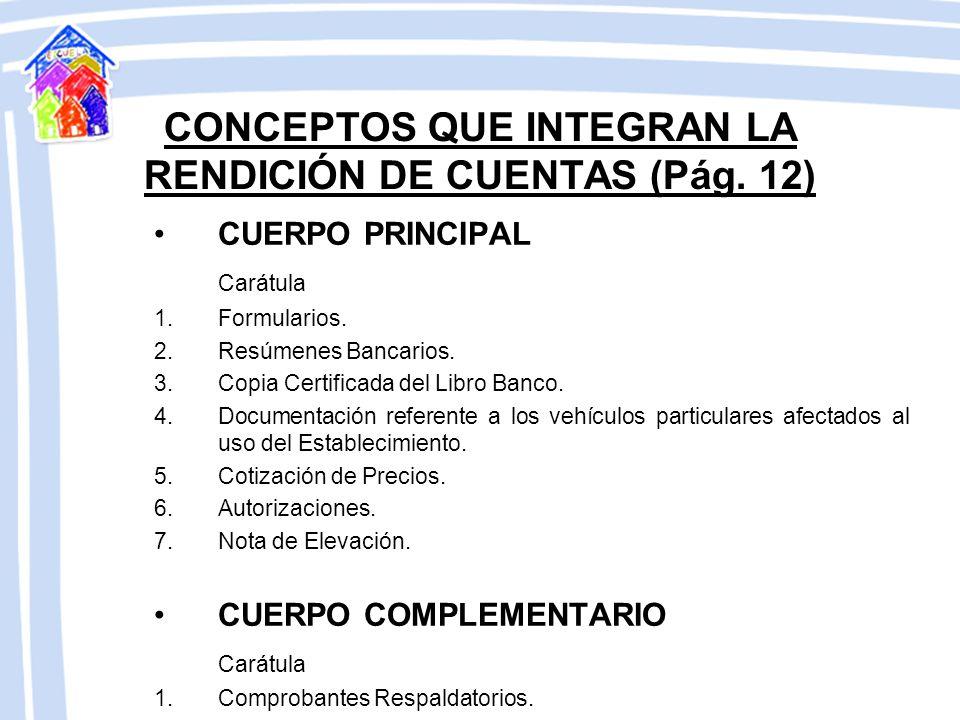 CONCEPTOS QUE INTEGRAN LA RENDICIÓN DE CUENTAS (Pág. 12)