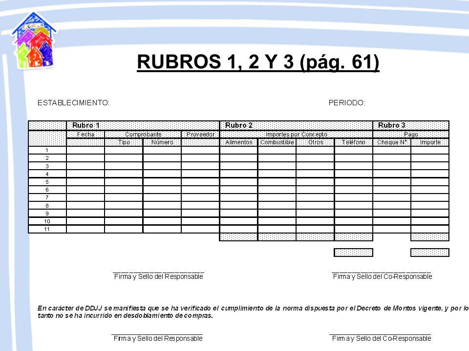RUBROS 1, 2 Y 3 (pág. 61)
