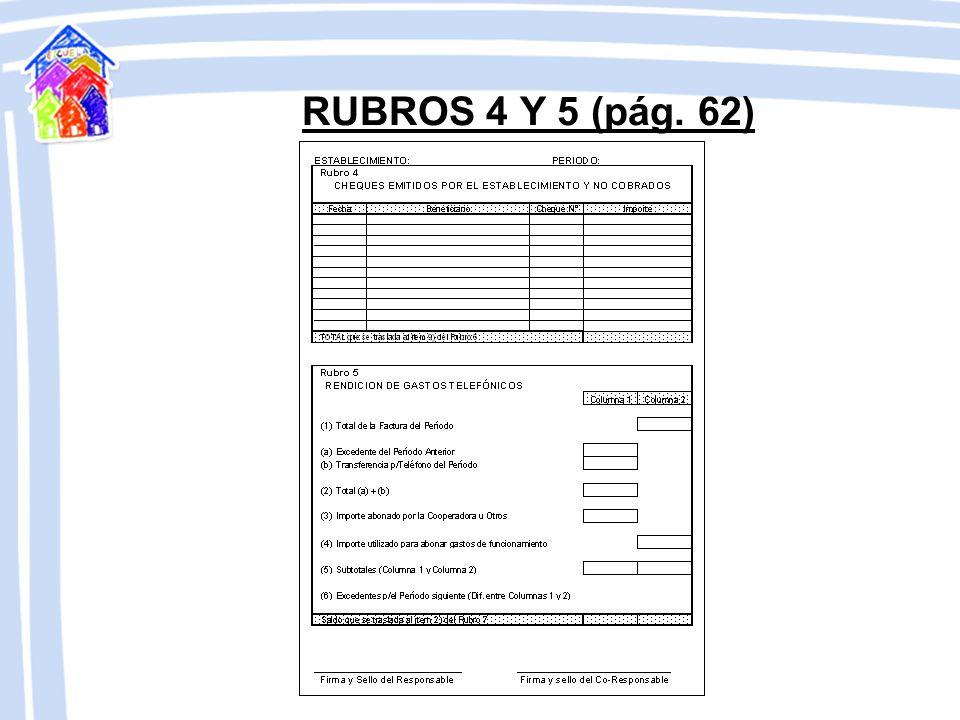 RUBROS 4 Y 5 (pág. 62)