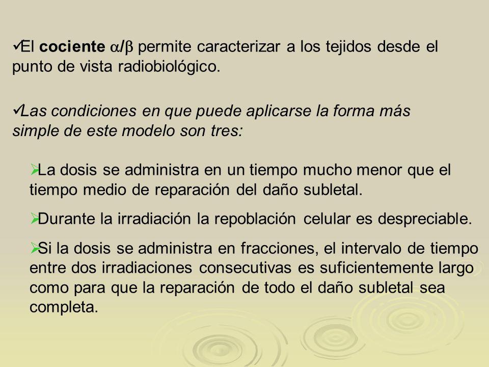 El cociente / permite caracterizar a los tejidos desde el punto de vista radiobiológico.