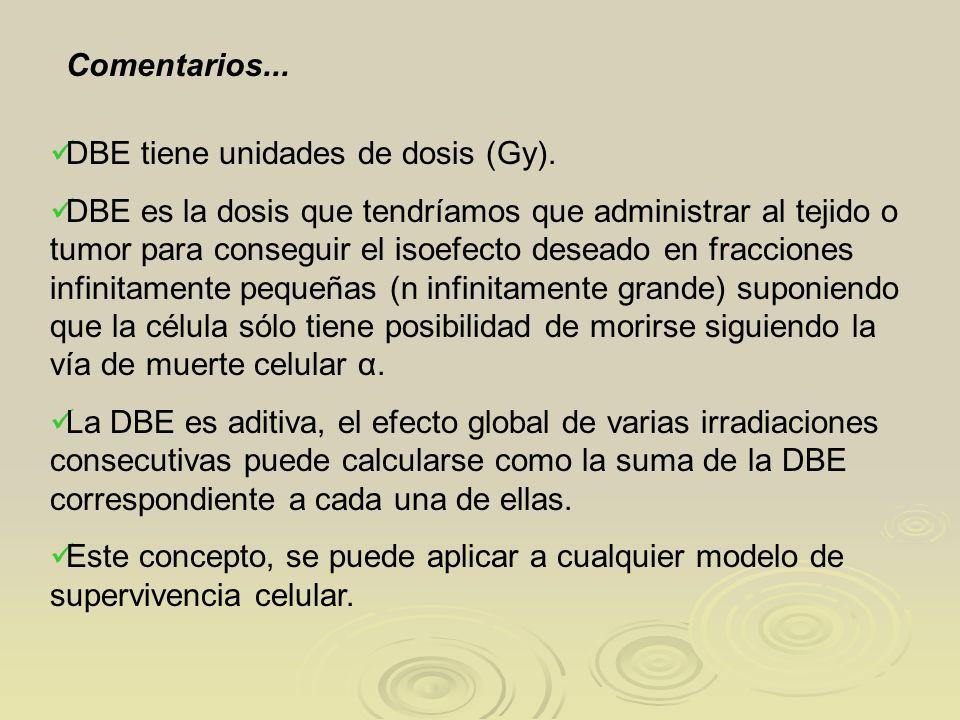Comentarios... DBE tiene unidades de dosis (Gy).