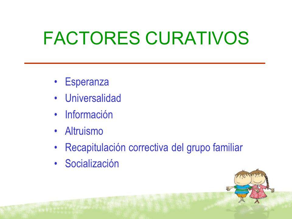 FACTORES CURATIVOS Esperanza Universalidad Información Altruismo