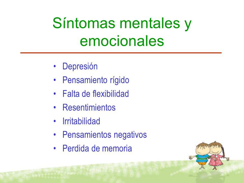 Síntomas mentales y emocionales