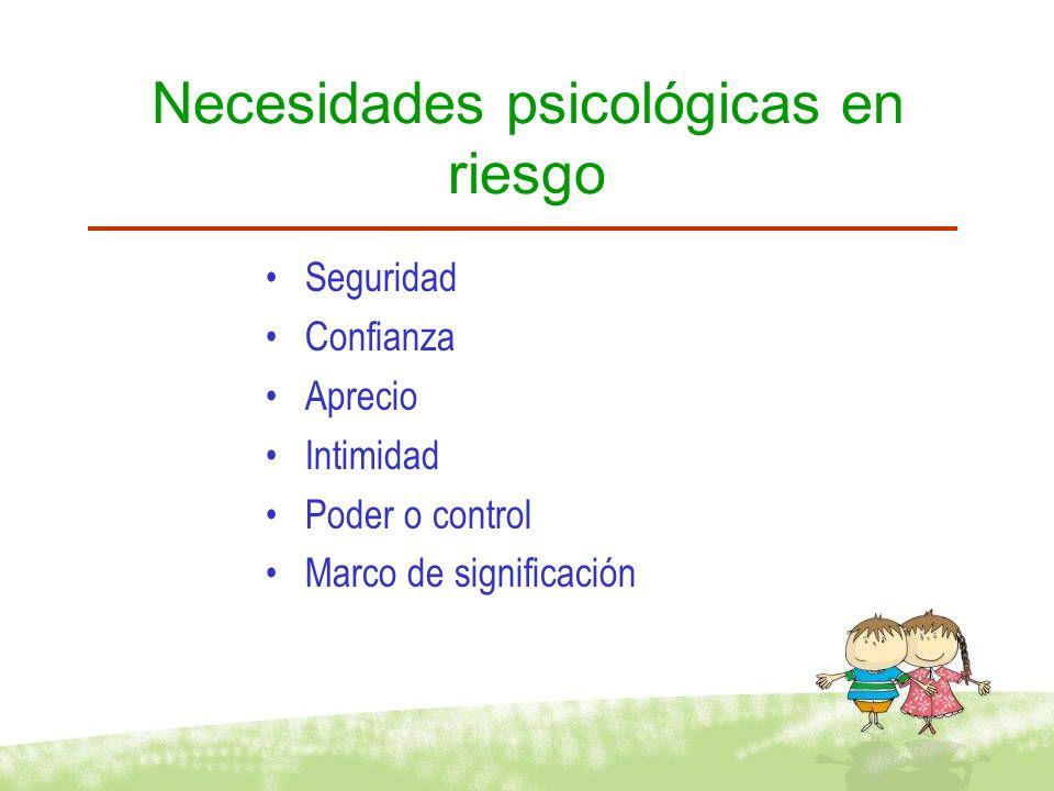 Necesidades psicológicas en riesgo