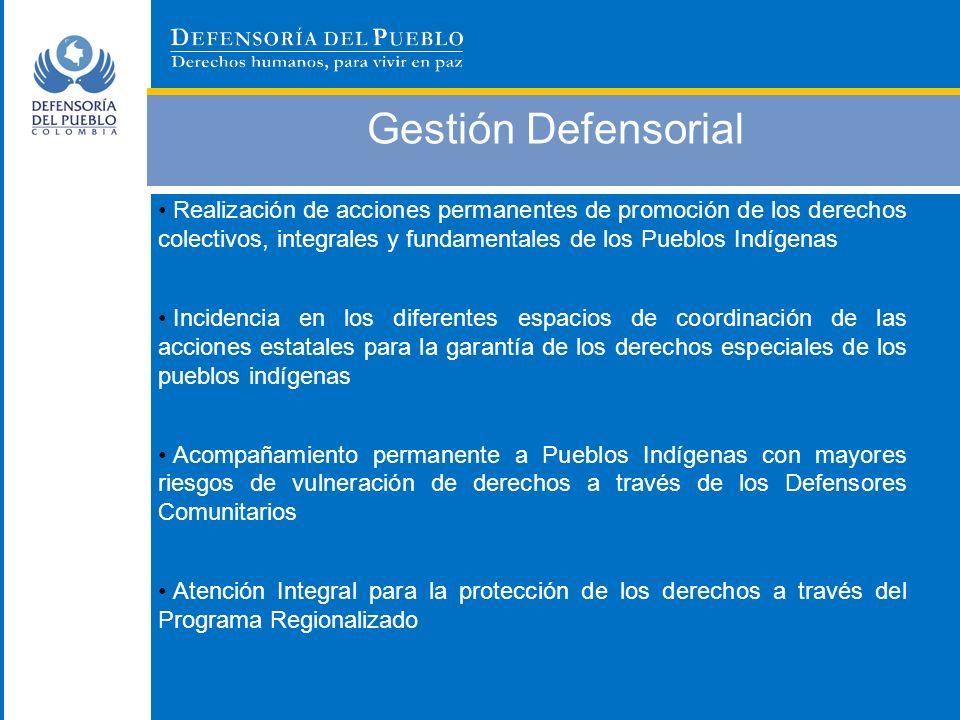 Gestión Defensorial Realización de acciones permanentes de promoción de los derechos colectivos, integrales y fundamentales de los Pueblos Indígenas.