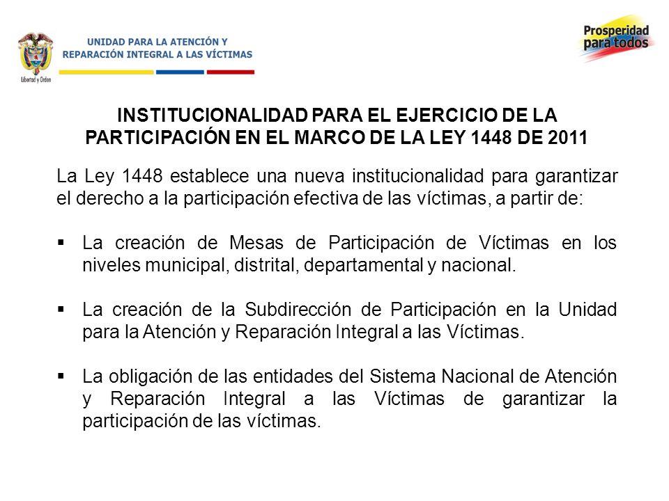 INSTITUCIONALIDAD PARA EL EJERCICIO DE LA PARTICIPACIÓN EN EL MARCO DE LA LEY 1448 DE 2011