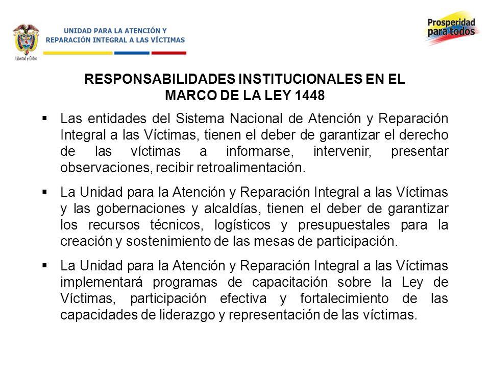 RESPONSABILIDADES INSTITUCIONALES EN EL MARCO DE LA LEY 1448