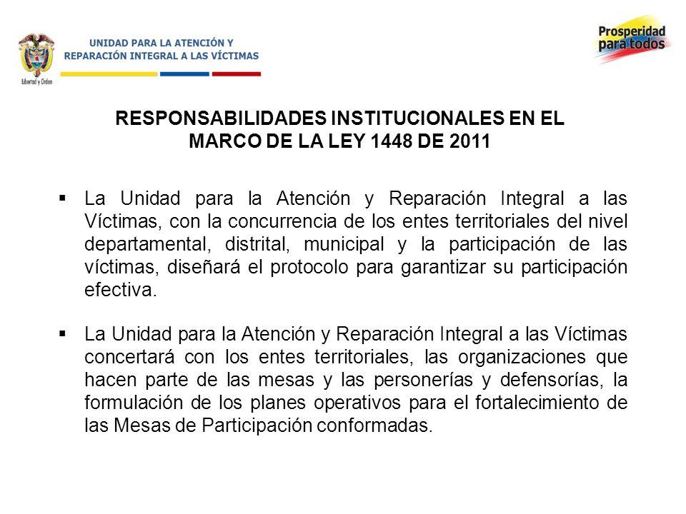 RESPONSABILIDADES INSTITUCIONALES EN EL MARCO DE LA LEY 1448 DE 2011