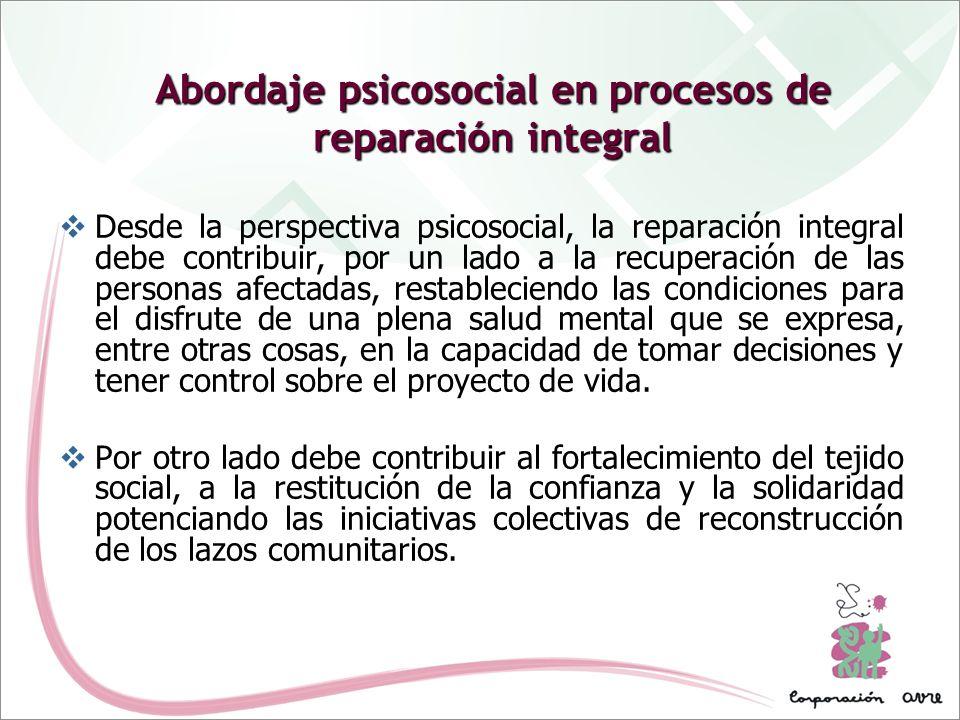 Abordaje psicosocial en procesos de reparación integral