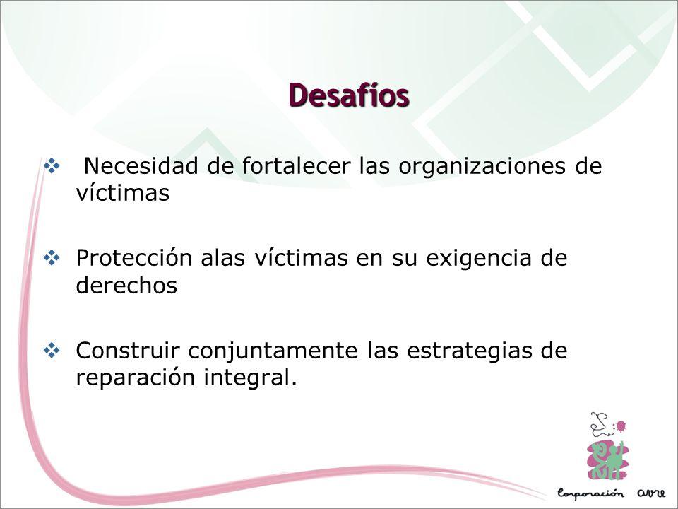 Desafíos Necesidad de fortalecer las organizaciones de víctimas