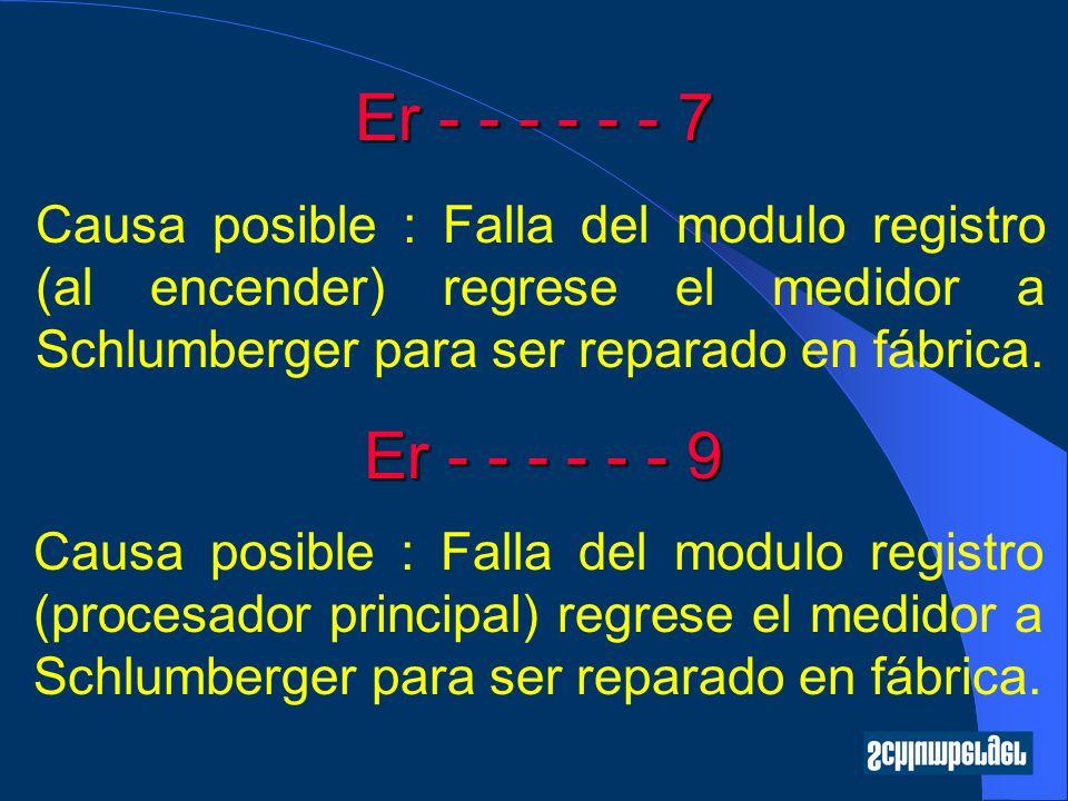 Er - - - - - - 7 Causa posible : Falla del modulo registro (al encender) regrese el medidor a Schlumberger para ser reparado en fábrica.