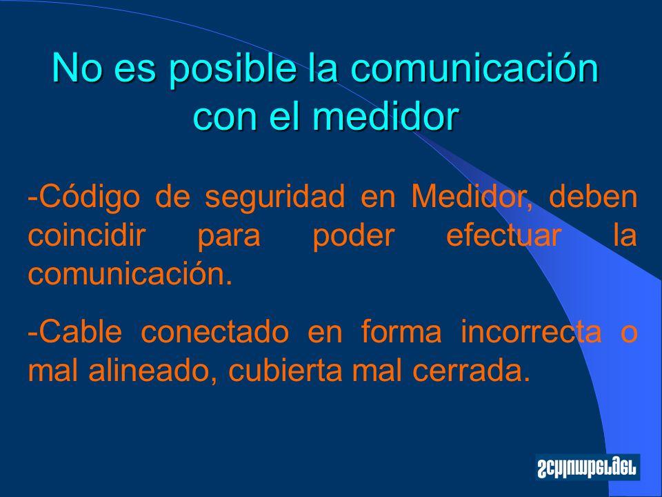 No es posible la comunicación con el medidor