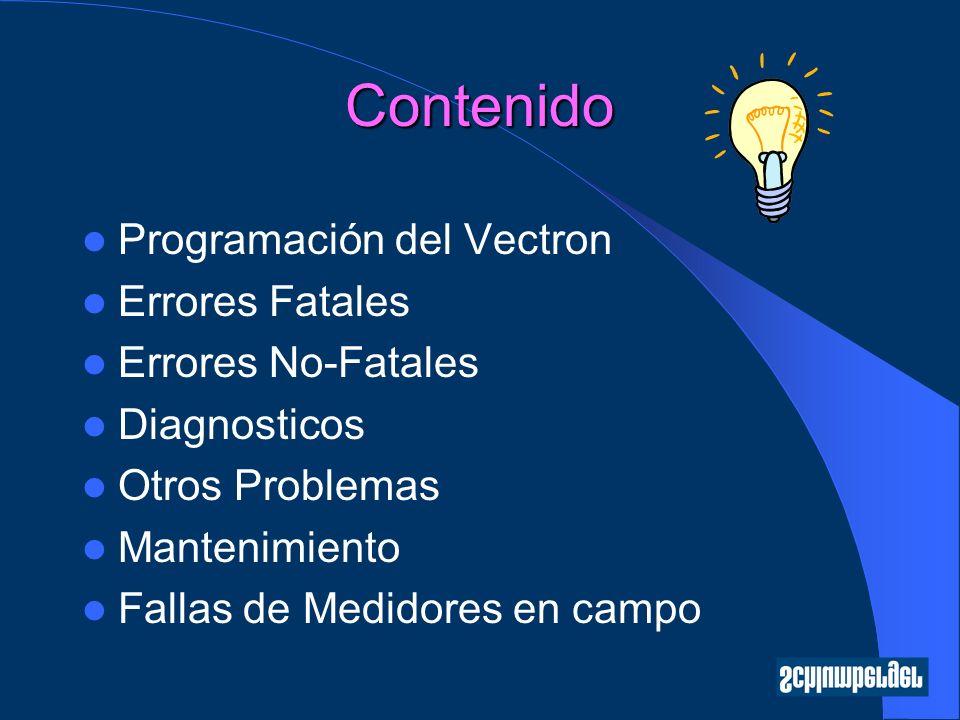 Contenido Programación del Vectron Errores Fatales Errores No-Fatales