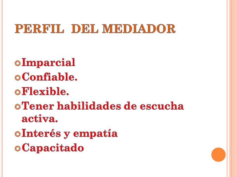 PERFIL DEL MEDIADOR Imparcial Confiable. Flexible.