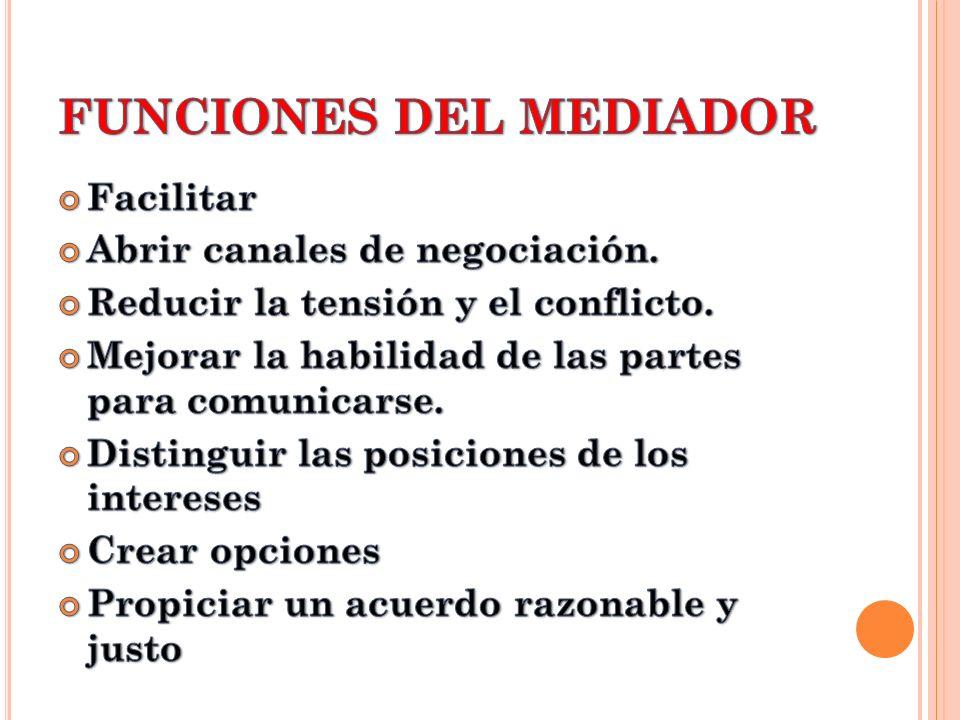 FUNCIONES DEL MEDIADOR