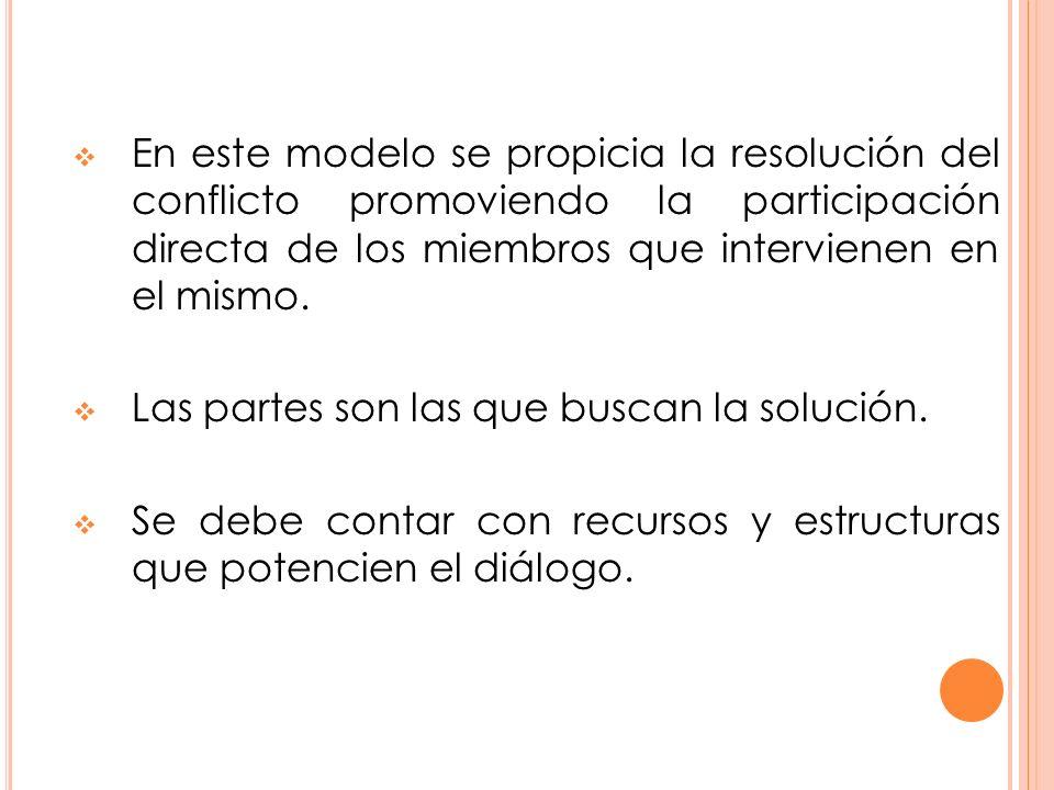 En este modelo se propicia la resolución del conflicto promoviendo la participación directa de los miembros que intervienen en el mismo.