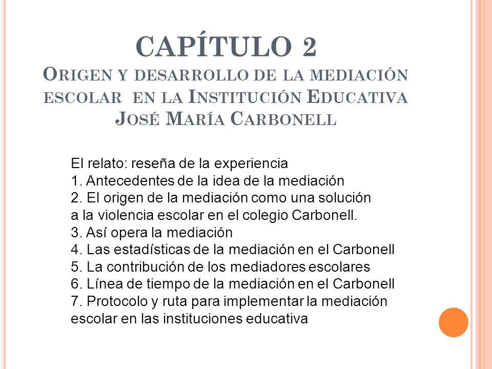 CAPÍTULO 2 Origen y desarrollo de la mediación escolar en la Institución Educativa José María Carbonell