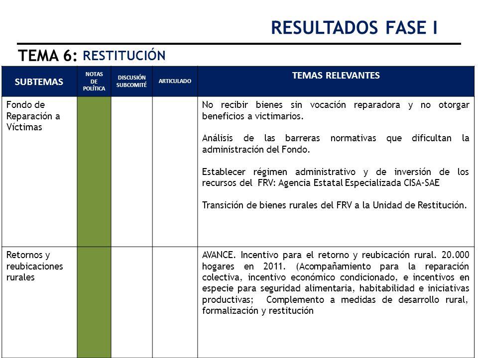 RESULTADOS FASE I TEMA 6: RESTITUCIÓN TEMAS RELEVANTES SUBTEMAS
