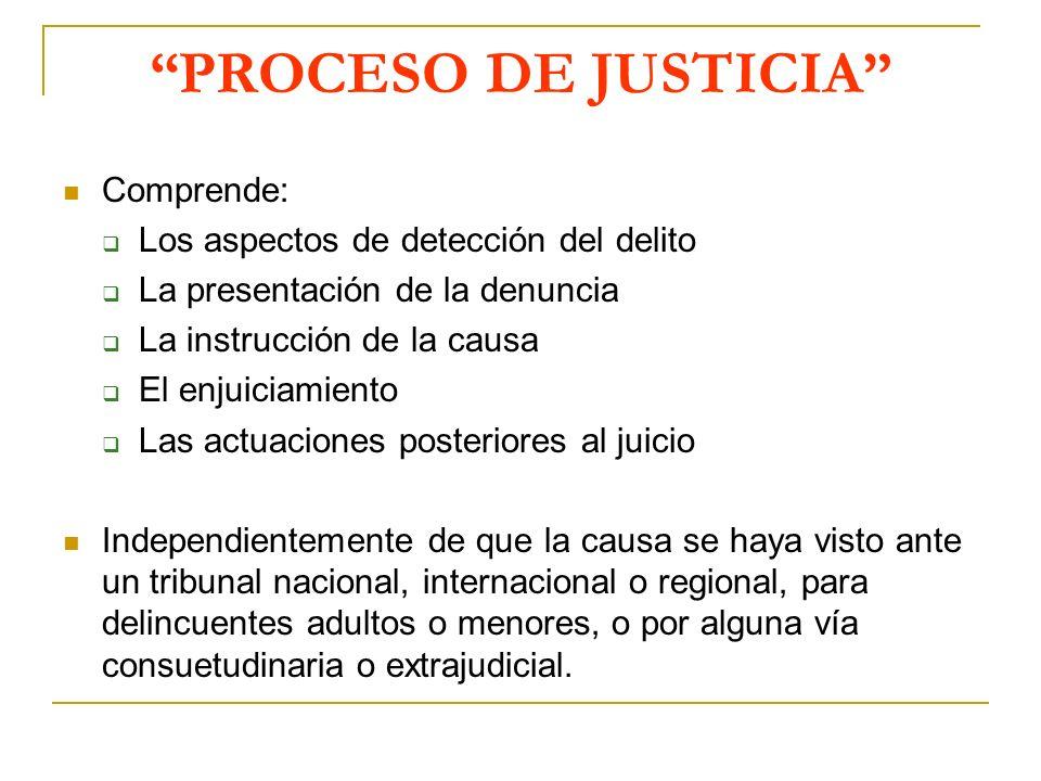 PROCESO DE JUSTICIA Comprende: Los aspectos de detección del delito
