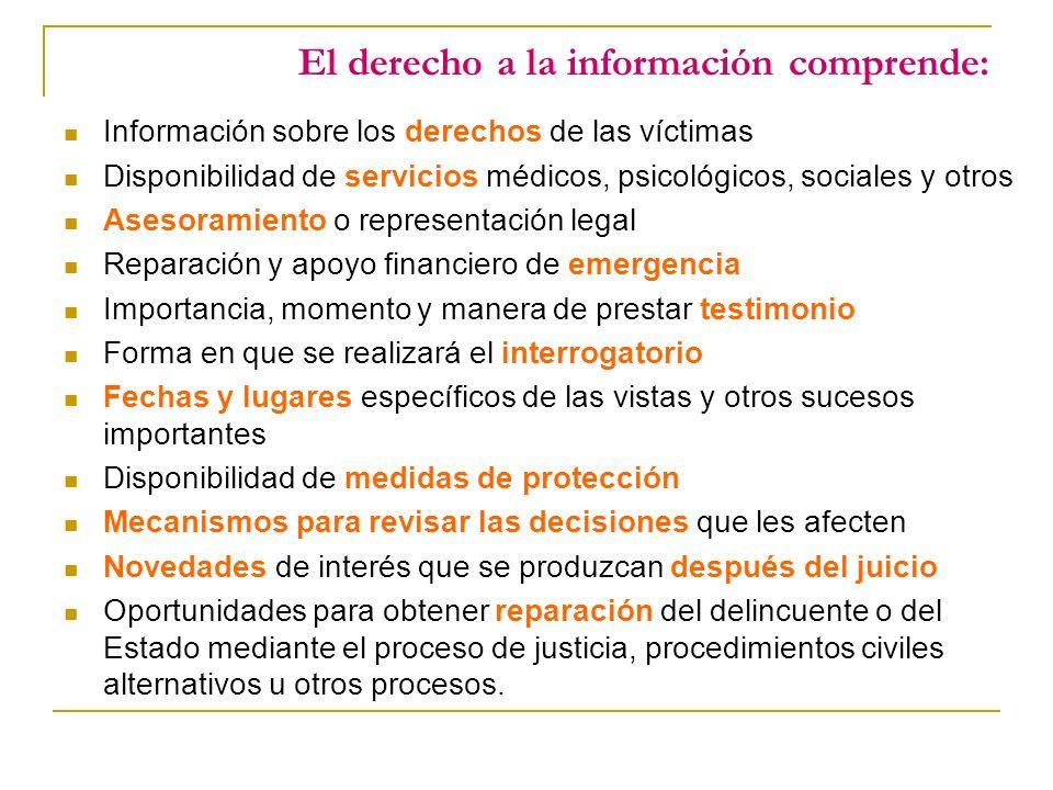 El derecho a la información comprende: