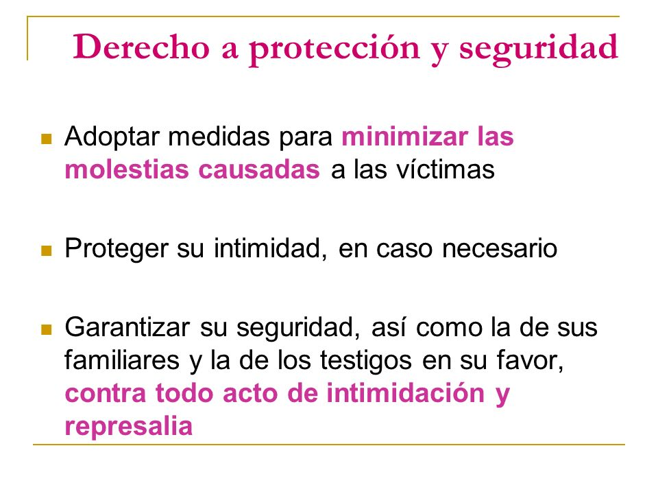 Derecho a protección y seguridad