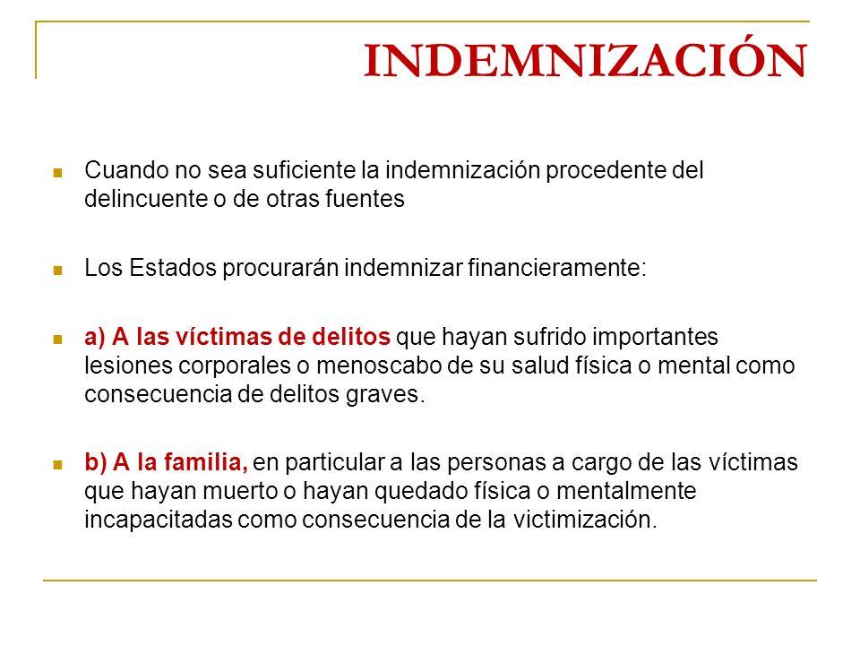 INDEMNIZACIÓN Cuando no sea suficiente la indemnización procedente del delincuente o de otras fuentes.