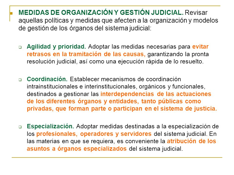 MEDIDAS DE ORGANIZACIÓN Y GESTIÓN JUDICIAL