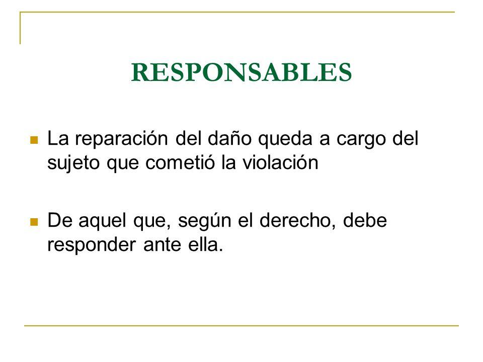 RESPONSABLES La reparación del daño queda a cargo del sujeto que cometió la violación.
